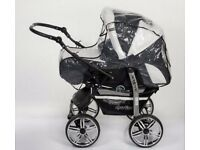 Pram From Birth,Twing 3in1 Travel System, High Quality Pram with Accessories.Black&White.£90