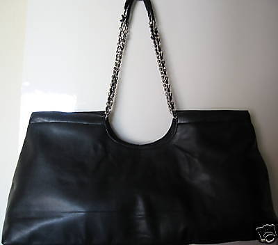 Leatherette Womens Tote Bag - Serious Skin Care BLACK LEATHERETTE TOTE BAG PURSE