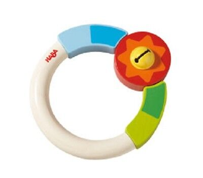 New HABA Candy Wooden Baby Teething Ring, Germany, clutching toy with bell  for sale  Drexel