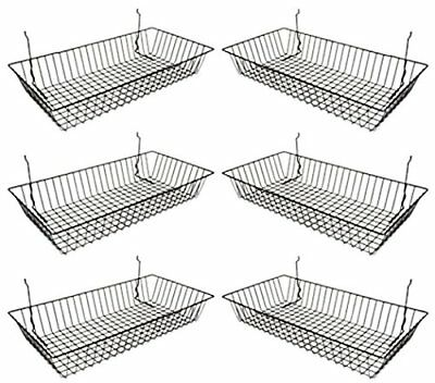 Pack Of 6 Black Wire Baskets For Grid Wall Slat Or Pegboard Organizer