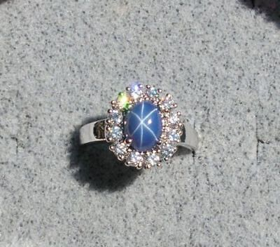 HALO LINDE LINDY CRNFLWR BLUE STAR SAPPHIRE CREATED SECOND RING STAINLESS (Created Blue Star Sapphire Ring)