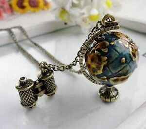 Fashion-Retro-Bronze-Globe-Tellurion-Telescope-Charms-Pendant-Chain-Necklace