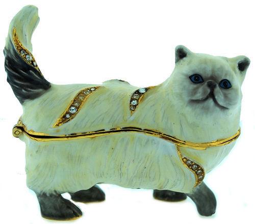 3358  PERSIAN CAT ~ WHITE~ ENAMEL& JEWELED TRINKET BOX