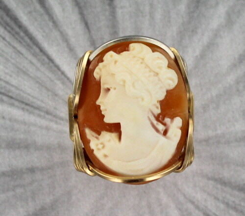 Vintage Antique Cameo Ring in 14kt Rolled Gold Size 5 to 15  Wire Wrapped