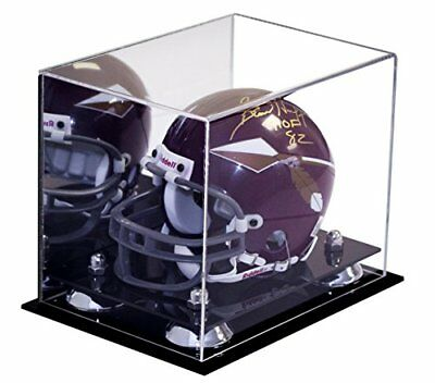 Miniature Football Display - MINI-Miniature Football Helmet Mirrored Display Case with Silver Risers(A003-SR)
