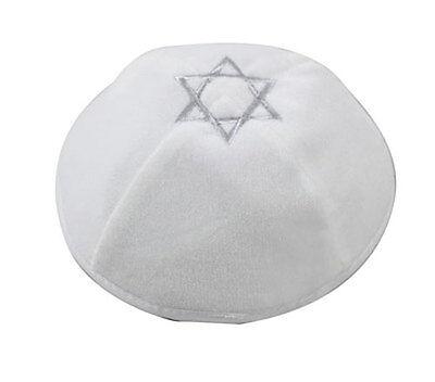 White Velvet Kippah with Silver Star of David - Jewish Yarmulke Yamaka Yarmulka