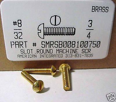 8-32x34 Round Head Slotted Machine Screws Solid Brass 18
