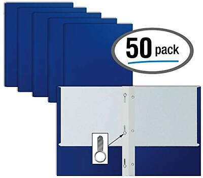 Blue Paper 2 Pocket Folders With Prongs 50 Pack Matte Texture Letter Size Paper