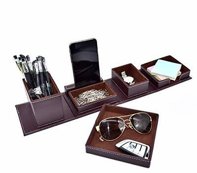 Leather Office Supplies Desk Organizers And Accessoriesdesktop Caddy Storage Fo