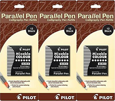 Pack Of 3 Pilot Parallel Pen Ink Refills For Calligraphy Pens Black 12 Cart...
