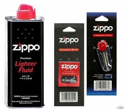 Original Zippo Lighter Fuel Fluid Petrol   1 X Wick X 6 Flints UK SELLER