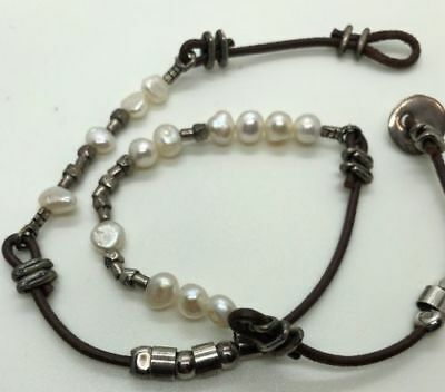 Silpada N1063 Sterling Silver 925 Button Leather Pearl Necklace Brown Bead $62 Brown Pearl Drop