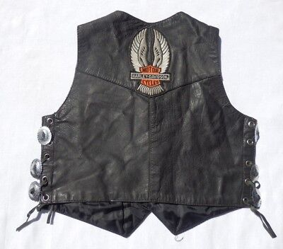 HARLEY DAVIDSON Leather Vest with Stones Patch by Unik Apparel - Kids Size XL