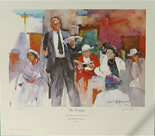 """Jack DeLoney, """"The Preacher"""" Signed and Numbered, Very Collectible Art Print"""