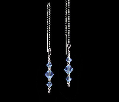*CKstella*  Alexandrite (color change) Crystal 925 Sterling Silver Ear Thread   Color Changing Thread