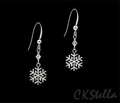 *CKstella* Snowflake Silver Pewter Snow Sterling Silver Earrings w/ Swarovski AB