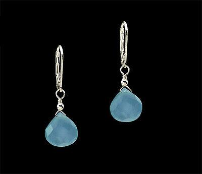 Sky Blue Chalcedony Teardrop Dangle .925 Sterling Silver Leverback Earrings   ()