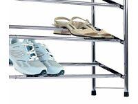 Extendable Shoe Storage Rack - Chrome Plated.