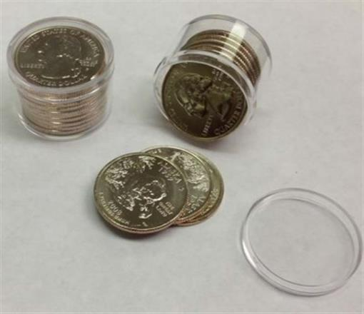 Coin Safe Round Quarter Coin Tubes 10 Coin Size Case of 100 Top Quality Storage