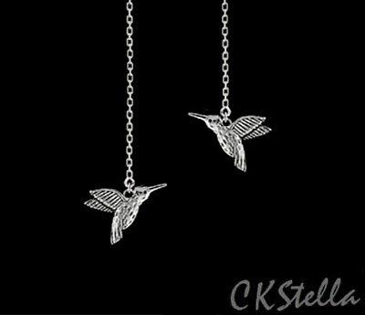 *CKstella*   Hummingbird Garden Bird 3D Threader Sterling Silver Thread Earrings