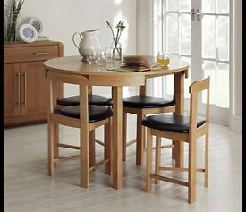 New!!! Hygena Alena Oak Circular Dining Table and 4 Chairs