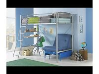 Sleep and Sit style metal bed frame with desk and futon