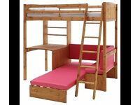 Classic Pine High Sleeper Childs Bed with Black Sofa And Writing Desk & Extra Pull Out Bed