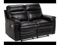 Argos Paulo 2 Seat Regular Black Leather Recliner Sofa. 3 Seater Also Available