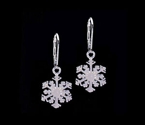 Snowflake Snow Dangle .925 Sterling Silver Leverback Earrings