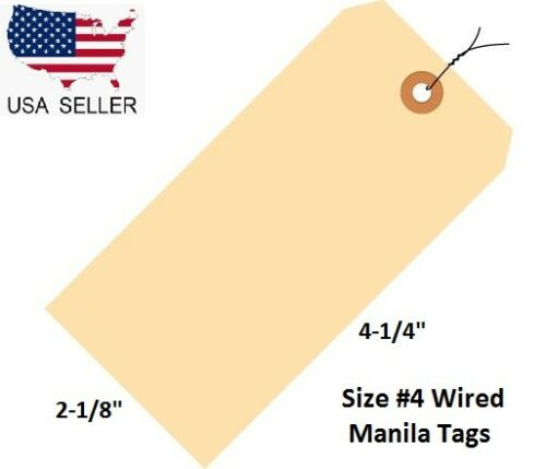 "100 Pack of 4 1/4"" x 2 1/8"" Size 4 Manila Inventory Shipping Hang Tags with Wire"