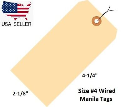 100 Count Size 4 Manila Inventory Shipping Hang Tags W Wire 4 14 X 2 18