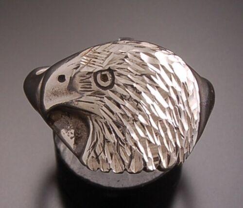 Sterling Silver - Diamond Cut - Eagle Head Men's Ring - A...