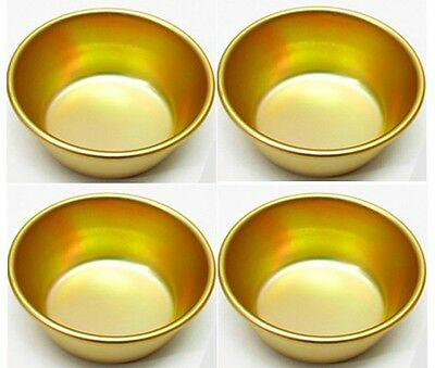 4pcs Nickel-Silver Plated Aluminum Yellow MAKGEOLLI Korean Raw Rice Wine Bowls