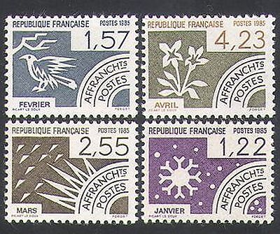 France 1985 Snowflake/Bird/Flower/Months/Pre-cancels/Animation 4v set (n36255)