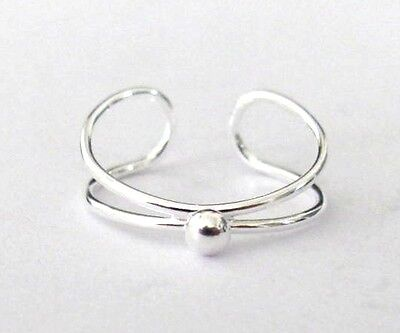 Sterling Silver 1 raised bead adjustable toe ring