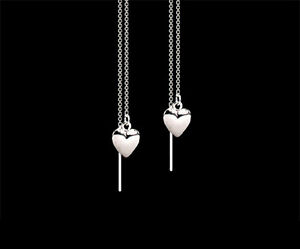 Heart .925 Sterling Silver Small Dangle Ear Thread Threader Earrings