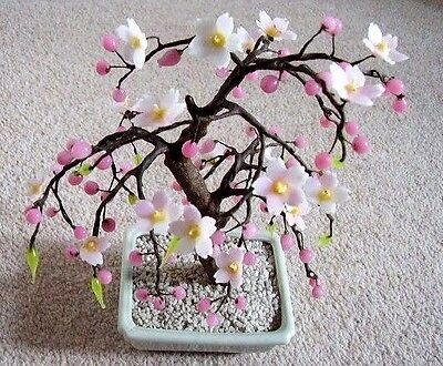 Chinese bonsai big glass flower tree,pink