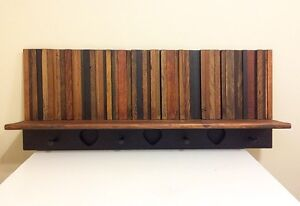 Reclaimed Wood Coat Rack with Shelf.