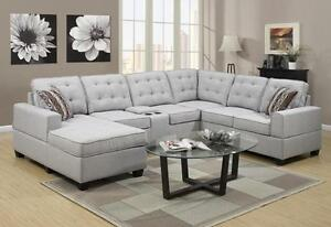 Fabric tufted sectional with chaise and arm storage with cup hol