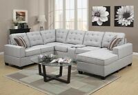 3PCS FABRIC SECTIONAL WITH TWO CUP HOLDERS& CONSOLE $1299 NO TAX