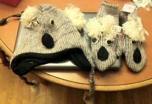 Adult Koala Hat & Gloves - Brand New