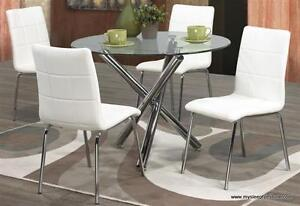 SOLARA ROUND DINING TABLE WITH 4 CHAIRS- BRAND NEW