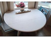 Upcycled Annie Sloan Drop Leaf Round Dining Table
