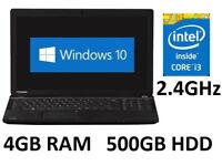 Toshiba Satellite Pro C50 4GB RAM 500GB HDD Intel i3 Fast Windows 10 Pc Laptop VGC