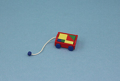 Adorable Dollhouse Miniature Primary Colors Wood Wagon Toy with Blocks #WCTA220