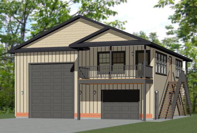 36x40 Apartment with 1-Car 1-RV Garage -- PDF Floor Plan -- 902 sqft -- Model 1B