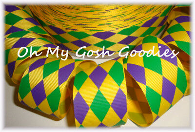 Mardi Gras Bow (1.5 MARDI GRAS JESTER PURPLE GREEN YELLOW GOLD GROSGRAIN RIBBON FOR HAIRBOW BOW  )