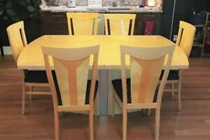 Italian maple dining set.  Includes table, six chairs and leaf