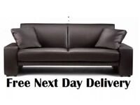 Amazing Brown Faux Leather Cuba Supra Sofa Bed