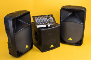 Speakers/Sub and 12-ch Mic Mixer PA System - Behringer